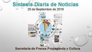 Sntesis Diaria de Noticias 20 de Septiembre de