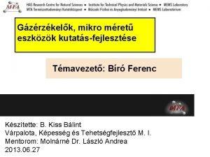 Gzrzkelk mikro mret eszkzk kutatsfejlesztse Tmavezet Br Ferenc
