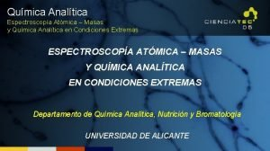 Qumica Analtica Espectroscopa Atmica Masas y Qumica Analtica