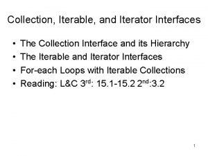 Collection Iterable and Iterator Interfaces The Collection Interface