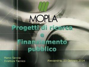 LOGO Progetti di ricerca e Finanziamento pubblico Marco