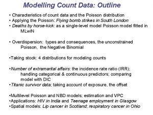 Modelling Count Data Outline Characteristics of count data