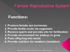 Female Reproductive System Functions 1 Produce female sex