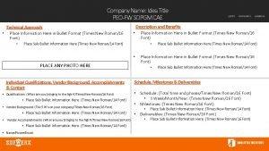 Company Name Idea Title PEOFW SOPGM CAE Description