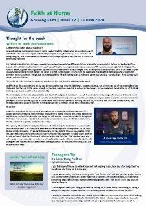 Faith at Home Growing Faith Week 12 15