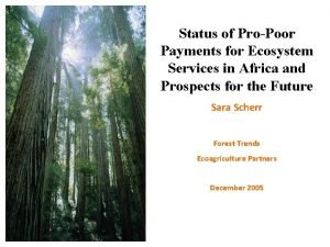 Status of ProPoor Payments for Ecosystem Services in