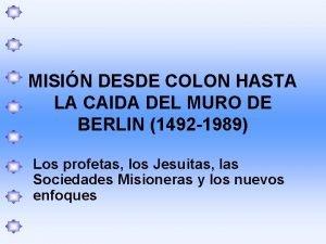 MISIN DESDE COLON HASTA LA CAIDA DEL MURO