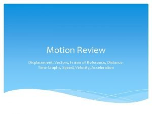 Motion Review Displacement Vectors Frame of Reference Distance