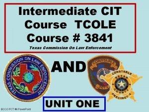 Intermediate CIT Course TCOLE Course 3841 Texas Commission