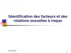 Identification des facteurs et des relations sexuelles risque