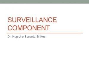 SURVEILLANCE COMPONENT Dr Nugroho Susanto M Kes Priority