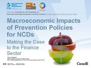 1 Workshop Economics of Prevention of Noncommunicable Diseases