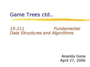 Game Trees ctd 15 211 Fundamental Data Structures