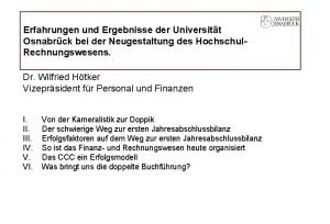 Erfahrungen und Ergebnisse der Universitt Osnabrck bei der