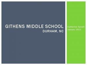 GITHENS MIDDLE SCHOOL DURHAM NC Katherine Spruill January