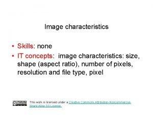 Image characteristics Skills none IT concepts image characteristics