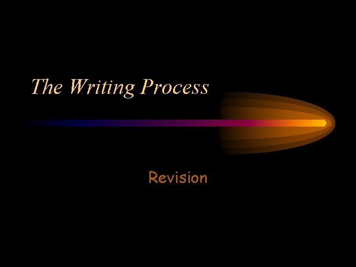The Writing Process Revision What is Revision Revision