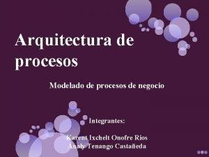 Arquitectura de procesos Modelado de procesos de negocio