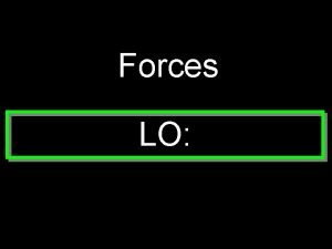 Forces LO Force and acceleration If the forces