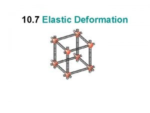 10 7 Elastic Deformation Elastic Deformations DEFORMATION Linear