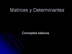 Matrices y Determinantes Conceptos bsicos Matrices l Una