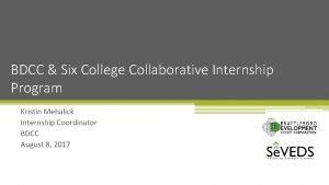 BDCC Six College Collaborative Internship Program Kristin Mehalick