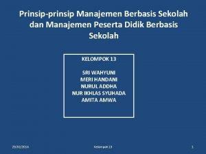 Prinsipprinsip Manajemen Berbasis Sekolah dan Manajemen Peserta Didik