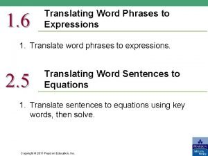 1 6 Translating Word Phrases to Expressions 1