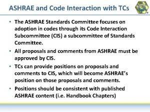ASHRAE and Code Interaction with TCs The ASHRAE