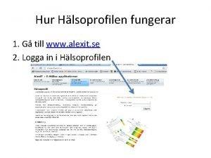 Hur Hlsoprofilen fungerar 1 G till www alexit