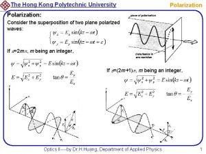 The Hong Kong Polytechnic University Polarization Consider the