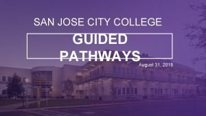 SAN JOSE CITY COLLEGE GUIDED PATHWAYS August 31