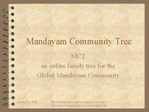 Mandayam Community Tree MCT an online family tree