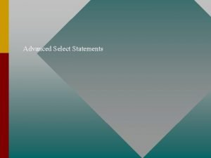 Advanced Select Statements Select List Variations SELECT Column