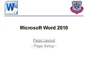Microsoft Word 2010 Page Layout Page Setup Page