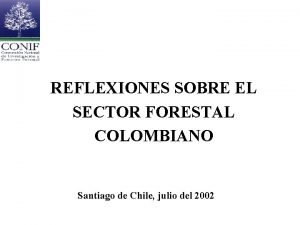 REFLEXIONES SOBRE EL SECTOR FORESTAL COLOMBIANO Santiago de