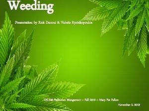 Weeding Presentation by Rick Dancui Valerie Kyriakopoulos LIS