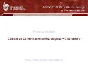 Proyecto Internet Ctedra de Comunicaciones Estratgicas y Cibercultura