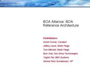 SOA Alliance SOA Reference Architecture Contributors Ashok Kumar
