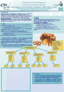 Componentresolved diagnosis in peanut and hazelnut allergy Romy