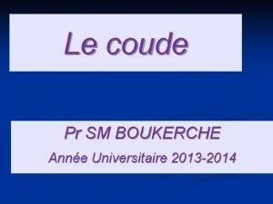 Le coude Pr SM BOUKERCHE Anne Universitaire 2013