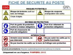FICHE DE SECURITE AU POSTE CGO RISQUES POTENTIELS