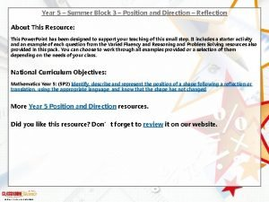 Year 5 Summer Block 3 Position and Direction