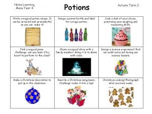 Home Learning Menu Year 4 Potions Autumn Term