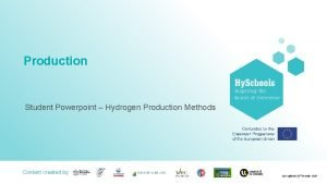 Production Student Powerpoint Hydrogen Production Methods Content created