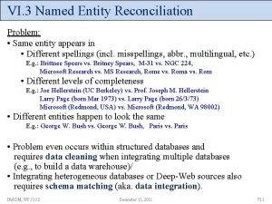 VI 3 Named Entity Reconciliation Problem Same entity