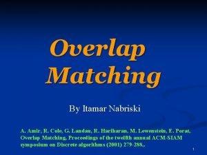 Overlap Matching By Itamar Nabriski A Amir R