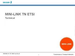 MINILINK TN ETSI Technical 422109 FGC 101 1901
