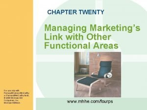 CHAPTER TWENTY Managing Marketings Link with Other Functional