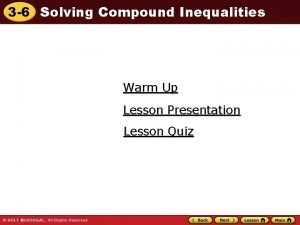 3 6 Solving Compound Inequalities Warm Up Lesson